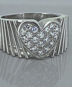 Vintage diamond set heart set wide band ring in 18 carat white gold