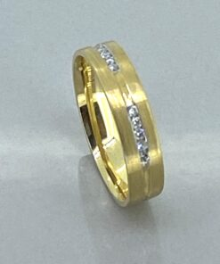 Vintage gold and diamond half eternity ring in 18 carat gold. Smart contemporary design band ring