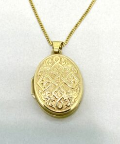 Vintage 9ct Gold Celtic Locket and Chain