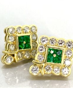 Emerald and diamond geometric 'diamond' shape cluster earrings Rub over setting 18ct
