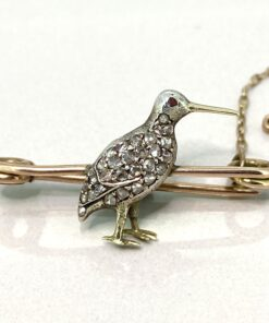 ntique Victorian Snipe Diamond Bird Pin or Brooch in 15 carat gold, Ruby Eyes