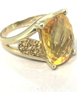 Golden Citrine Cocktail Ring, large faceted citrine sparking with rich golden tones with 8 small citrine's  on the shoulders, set in gold mount, super fancy statement ring