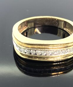 Mens Diamond Band Ring, 9 ct gold band with a half hoop line of small diamonds. Angled shank, Ring size V and can be resized free