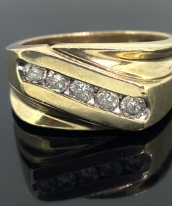 Mens Vintage Diamond Gold Ring. 5 stone diamond mens signet ring with the diamonds set diagonally. 10ct gold and ring size U. Can be resized included in price