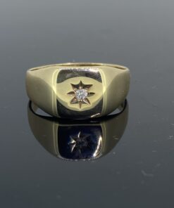 Antique Gold & Diamond Signet Ring with small solitaire centre stone, S size but can be resized free of charge