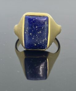 Lapis Lazuli Signet Ring, 14 ct, ring size N1/2. Chunky little ring