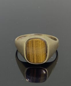 Tigers Eye Signet Ring in 9ct gold. trendy vintage square setting, size V, can be resized free of charge
