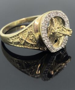 Mens Horseshoe Diamond Ring, vintage ring with a horse within a diamond peppered horseshoe, Ring size X, can be resized free of charge,
