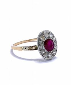 Ruby and Diamond Cluster Art-Deco Ring, with Shoulder Detail in Rose Gold Shaft.