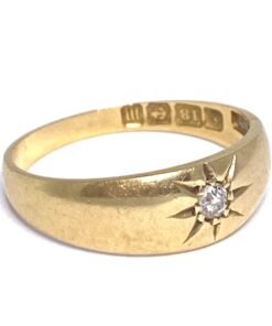 Edwardian Gypsy Diamond Ring set in 18ct buttery gold. Hallmarked 1911, a brilliant cut diamond set, an 'on trend' antique ring.