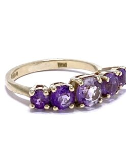 5-Stone Amethyst Half Eternity Ring in 9ct shank, the basket holds five beautiful brilliant cut purple Amethysts set by 4-rounded claws.