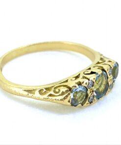 3 Stone Aquamarine and Diamond Carved Half Hoop Ring