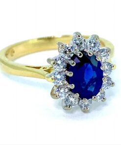 Sapphire and Diamond Halo Cluster Ring
