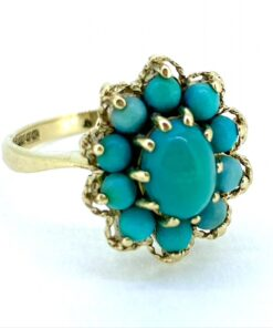Vintage Oval Turquoise Cluster Gold Ring, 9ct Hallmarked Birmingham 1972. The Turquoise are all claw set. Intricate gold ribbon work on top.