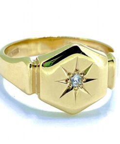 Star Set Diamond Solitaire Signet Ring