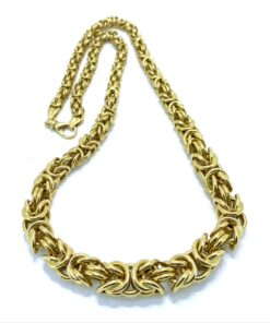 Stylised Knott Link Necklace in 18ct gold. Intricate linking yet robust feel. Width tappers from 12mm to 4mm at the lobster claw catch.