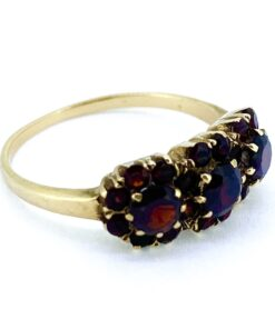 Triple Cluster Garnet Gold Ring, stamped 9ct. This quirky cluster ring, has deep mesmerising red Garnets all claw set. The triple cluster is a very unusual design that makes this ring extra special.