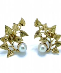 Leafy Pearl Stud Earrings in 9ct Gold. Stylised leaf design 19.5 mm X 13.5 mm with a mounted cultured pearl 4 mm in Diameter.